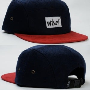 Image of NAVY WOOL 5PANEL / CRANBERRY SUEDE PEAK