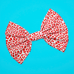 Image of HUGE Red & White Leopard Hair Bow