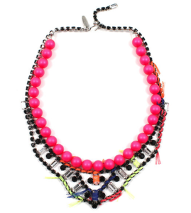 Image of Tribe Festival Crystal & Pearl Necklace W/Thread Details - Neon Pink