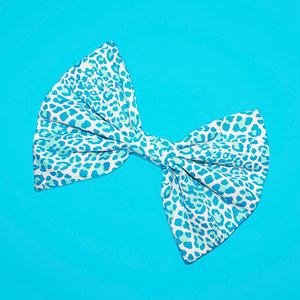 Image of HUGE Blue & White Leopard Hair Bow