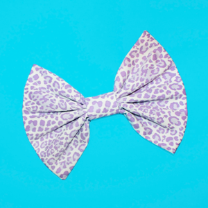 Image of HUGE Lavender & White Leopard Hair Bow