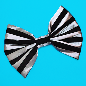 Image of HUGE Black and Silver Stripe Hair Bow
