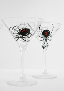 Image of Black Widow Spider Martini Glasses - Set of 2 Hand Painted Halloween Glasses