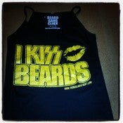 "Image of SPAGHETTI STRAP TANKTOP ""I KISS BEARDS"" GOLD PRINT"