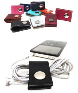 Image of Leather Earbud Cord Organizer / Made in USA