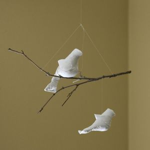 Image of NEW White-in-White Two-Bird Mobile with Mommy/Baby (One-of-a-Kind)