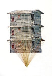 "Image of Original hand threaded art work:""Tower"""
