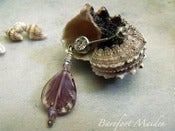 Image of Lilac Seashell Belly Ring | Vintage Pressed Glass, Surgical Steel