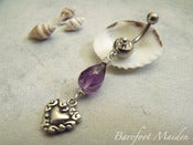 Image of Amethyst Love Belly Ring | Genuine Amethyst Gemstone, Sterling Heart, Surgical Steel