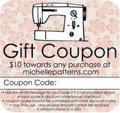 Image of $10 michellepatterns.com Gift Coupon