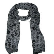 Image of White and black Peace print scarf