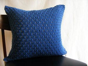 Image of Hand Knit Eyelet Cushion (Navy)(50x50cm)