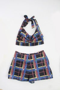 Image of Penny Dark Plaid 50s Style Twin Set