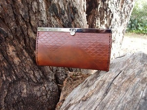 Image of NEW - Handtooled leather clutch wallet in Brown