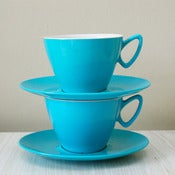 View two turquoise Gaydon Melmex cups and saucers