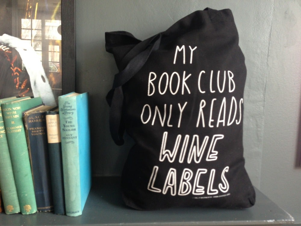 Image of BLACK My book club only reads wine labels