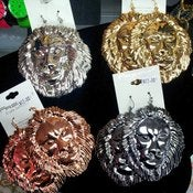 Image of Big Lion Head Earrings 