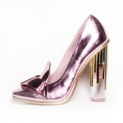 Image of Metallic Pump with Lucite Heel