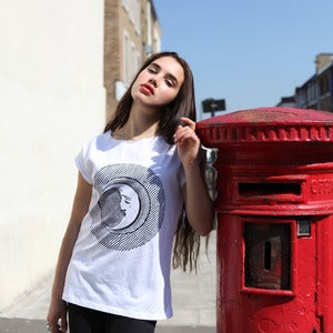 Image of MOON FACE white raw t-shirt
