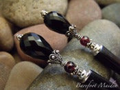 Image of Dark Elegance Hairsticks | Faceted Black Onyx Teardrops, Garnets, Ornate Sterling Accents