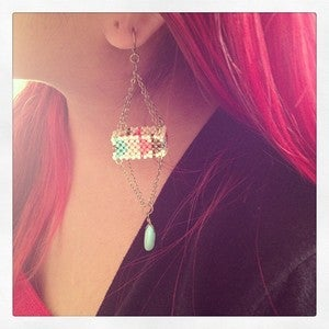Image of Beaded Octohedral Earring with Sleeping Beauty Turquoise