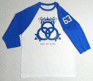 Image of White/Royal Blue ¾ Sleeve Baseball T-Shirt