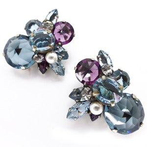 Image of Vintage Large Blue Purple Paste Glass Clip On Earrings
