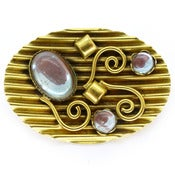 Vintage Saphiret Glass Stone Gold Tone Crinkle Ornate Pin Brooch