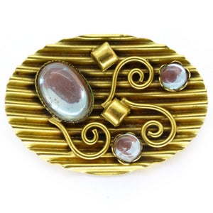 Image of Vintage Saphiret Glass Stone Gold Tone Crinkle Ornate Pin Brooch