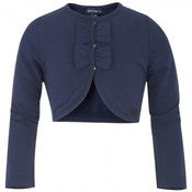 Image of MAYORAL. NAVY BOLERO WITH BOW DETAIL.