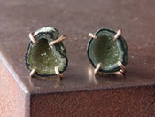Image of One of a Kind Yellow/Green Druzy Agate Geode Studs 14kt Gold