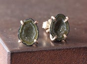 Image of One of a Kind small Green/Yellow Druzy Agate Geode Studs 14kt Gold