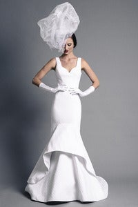 Image of Cotton Pique Mermaid Bridal Gown