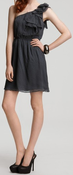 Image of Rebecca Taylor Grey One Shoulder Ruffle Tie Dress SZ. 2