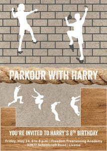 Image of Parkour/American Ninja Warrior themed invitation
