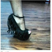 Image of Black Fringe Heeless Shoe 