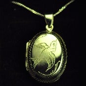 Hand Engraved Silver Flying Bird Locket