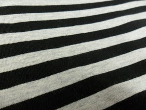 Image of Yarn-Dyed 8mm Stripes (Black & Heather Grey) Cotton-Lycra Knit
