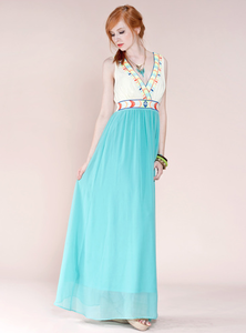 Image of Embroidered Color Block Maxi