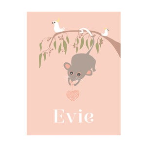 Image of 'Poss on branch' Personalised Art Print