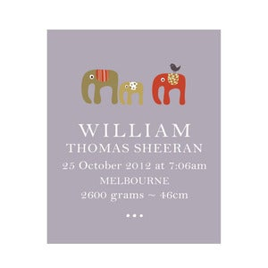 Image of 'Elephant Tribe' Personalised Birth Art Print