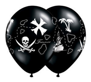 Image of Black Pirate Map Balloons