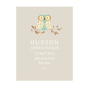 Image of One Little Owl Personalised Birth Art Print