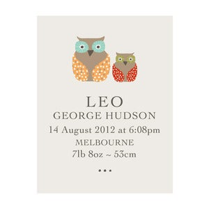 Image of 'Owly' Personalised Birth Art Print