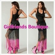 Image of Black Fringe Maxi Dress 