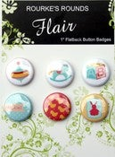 "Image of Baby Toys Flair - 6 x 1"" Flatback Buttons / Badges - Rourke's Rounds"