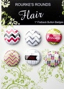 "Image of Pink Princess Flair - 6 x 1"" Flatback Buttons/ Badges - Rourke's Rounds"