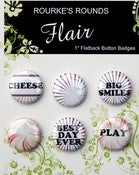 "Image of Retro Fun Flai - 6 x 1"" Flatback Buttons / Badges - Rourke's Rounds"
