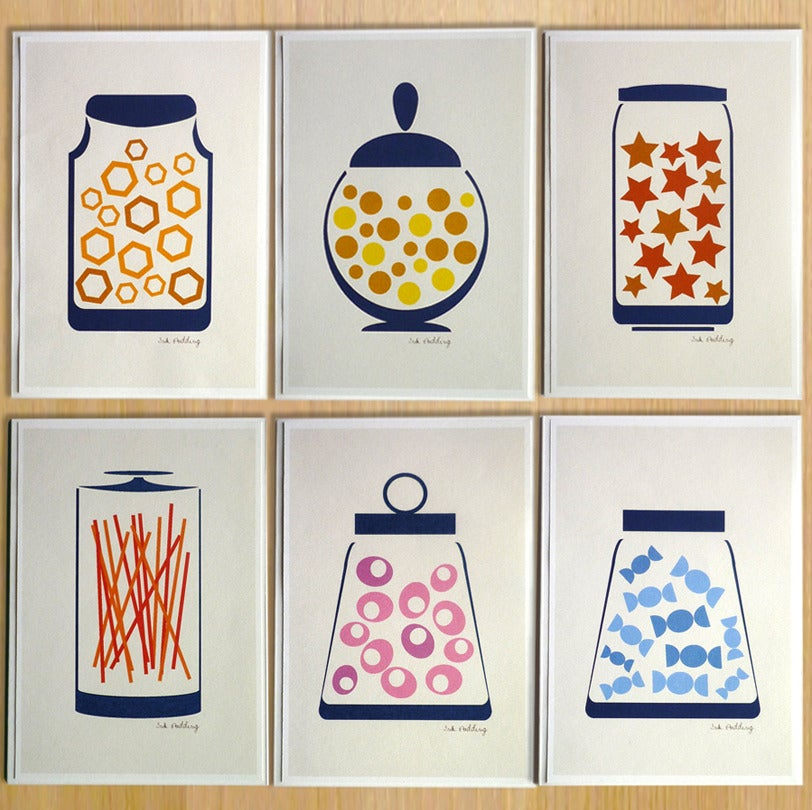 Image of Set Of Six Sweet Jar Greeting Cards