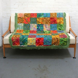 Image of Amazing Vintage Technicolour Quilt - SOLD